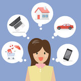 Business woman dreaming a future. Vector illustration Royalty Free Stock Image