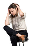 Business woman dressed in black trousers and brown shoes. Business woman dressed in black trousers and brown shoes sits in a chair stock photos