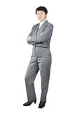 Business Woman Dressed In Gray Suit Stock Image