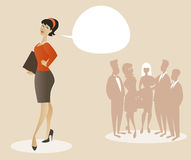 Business woman dressed in 50`s or 60`s clothes proud of her team. Cartoon style. Royalty Free Stock Image