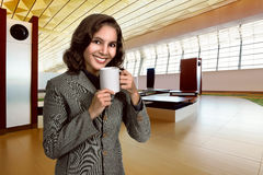 Business Woman Drink Coffee Royalty Free Stock Photos