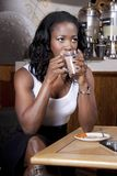 Business Woman drink cup coffee while thinking Stock Photography