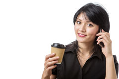 Business woman with drink Stock Image