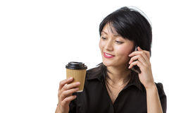 Business woman with drink Royalty Free Stock Photo