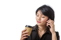 Business woman with drink Royalty Free Stock Images