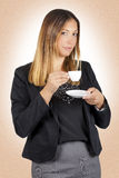 Business woman drinking coffee in cup. Work pause Stock Images