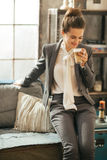 Business woman with drinking coffee latte Royalty Free Stock Image