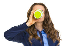 Business woman drinking hot beverage Royalty Free Stock Photo