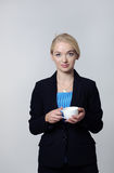 Business woman drinking tea Royalty Free Stock Photography