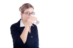Business woman drinking water Stock Images