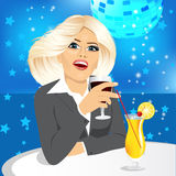 Business woman drinking wine Royalty Free Stock Photo