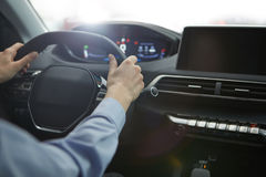 Business woman driving her new  car . Business woman driving her new  car Royalty Free Stock Images