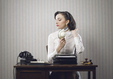 Business woman drying her hair. In office Stock Images