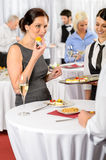 Business woman eat dessert from catering service Stock Image