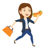 Business woman eating hot dog vector illustration. Royalty Free Stock Photography