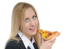 Business woman eating pizza on white Royalty Free Stock Image