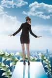Business woman on the edge of trampoline Royalty Free Stock Image