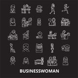 Business woman editable line icons vector set on black background. Business woman white outline illustrations, signs. Symbols royalty free illustration