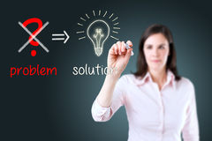Business woman eliminate problem, find solution. Stock Photos