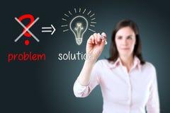 Business woman eliminate problem, find solution. Young business woman eliminate problem and find solution stock photos