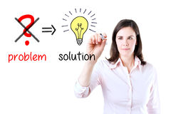 Business woman eliminate problem, find solution. Young business woman eliminate problem and find solution. Isolated on white royalty free stock photo