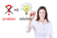 Business woman eliminate problem, find solution. Young business woman eliminate problem and find solution, white background royalty free stock images