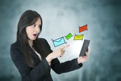 Business woman with email royalty free stock photography