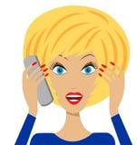 Business  woman emotionally speak by phone Stock Photos