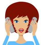 Business  woman emotionally speak on two telephone Royalty Free Stock Photos