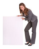 Business woman and empty banner. Isolated royalty free stock photo
