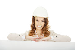 Business woman with empty banner. Stock Image