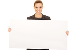 Business woman with empty banner. Stock Photos