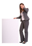 Business woman and empty card. Isolated Royalty Free Stock Image