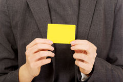 Business woman with empty card. Stock Photo