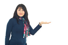 Business woman with empty open palm Royalty Free Stock Image
