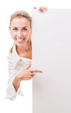 Business woman with empty poster Royalty Free Stock Photos