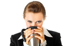 Business woman enjoying cup of coffee Royalty Free Stock Image