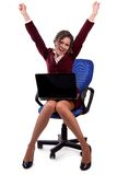 Business woman enjoys success royalty free stock photos