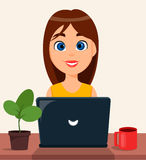 Business woman entrepreneur working on a laptop computer at her office desk. Cute cartoon character. Modern color vector illustration Stock Photos