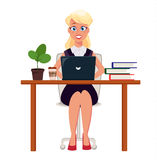 Business woman entrepreneur working on laptop at her office desk. Cute cartoon character. Modern color vector illustration Royalty Free Stock Images