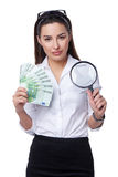 Business woman with Euro banknotes Royalty Free Stock Photo