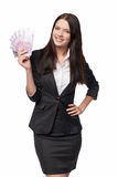 Business woman with euro money. Young beautiful business woman with euro money in hand Stock Images