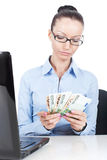 Business woman with euros in hands Royalty Free Stock Image