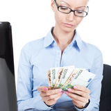 Business woman with euros in hands Stock Photo