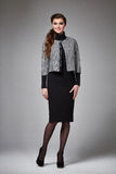 Business woman evening makeup clothes for meetings and walks. Beautiful young business woman with evening make-up wearing a skirt to the knee wool coat jacket stock images