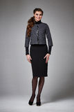 Business woman evening makeup clothes for meetings and walks. Beautiful young business woman with evening make-up wearing a skirt to the knee wool coat jacket stock photography