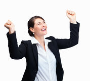 Business woman excited on her company's su Royalty Free Stock Photography