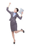 Business woman excited with tablet pc Stock Image