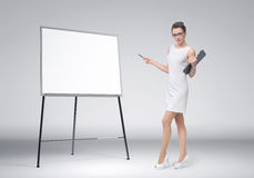 Business woman explain at the board Royalty Free Stock Photo