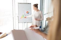 Business woman is explaining meaning of different diagrams on the flipchart. Girl with the notebook is listening to her. And ready to write down some tips royalty free stock photography